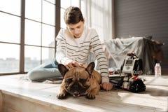 Κούρασε λίγο σκυλί στο πάτωμα Στοκ Εικόνα