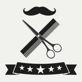 Κούρεμα και ξύρισμα καταστημάτων κουρέων Σαλόνι κομμωτών εμβλημάτων διανυσματική απεικόνιση