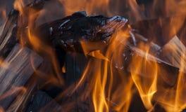 Κούτσουρα που καίνε ολοσχερώς στις φλόγες Στοκ εικόνα με δικαίωμα ελεύθερης χρήσης