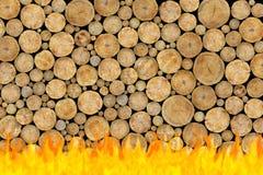 κούτσουρα πυρκαγιάς ανασκόπησης που συσσωρεύονται στοκ εικόνες με δικαίωμα ελεύθερης χρήσης
