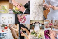 Κολάζ γαμήλιων λεπτομερειών Στοκ Φωτογραφίες