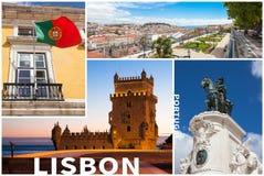 Κολάζ εικόνων της πόλης της Λισσαβώνας στην Πορτογαλία Στοκ Φωτογραφία