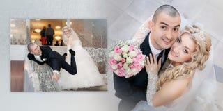 Κολάζ - εύθυμος νεόνυμφος και η νύφη στη ημέρα γάμου τους στοκ φωτογραφία
