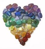 Κολάζ καρδιών πολύτιμων λίθων κρυστάλλου Στοκ Φωτογραφίες