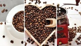 Κολάζ καφέ - τα φασόλια καφέ κοιλαίνουν, καρδιά του καφέ, μύλος καφέ Στοκ Εικόνες