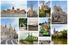 Κολάζ με τα διάσημα μνημεία στη Βουδαπέστη, Ουγγαρία Στοκ Φωτογραφία