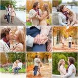 Κολάζ με το νέο ρομαντικό ζεύγος που έχει μια ημερομηνία Στοκ φωτογραφία με δικαίωμα ελεύθερης χρήσης