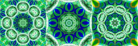 Κολάζ μπλε και πράσινα fractals Στοκ Εικόνες