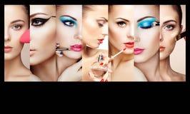 Κολάζ ομορφιάς Πρόσωπα των γυναικών στοκ φωτογραφία