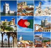 Κολάζ ορόσημων πόλεων της Λισσαβώνας, Πορτογαλία στοκ φωτογραφίες με δικαίωμα ελεύθερης χρήσης