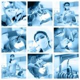 Κολάζ οδοντιάτρων με τις διαφορετικές απόψεις στην κλινική στοκ φωτογραφίες