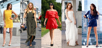 Κολάζ πέντε όμορφων προτύπων στα χρωματισμένα θερινά φορέματα Στοκ Φωτογραφίες