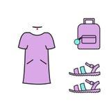 Κολάζ που ντύνει τη διανυσματική εικόνα Ιματισμός κολάζ Τσάντα φορεμάτων Στοκ εικόνες με δικαίωμα ελεύθερης χρήσης