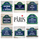 Κολάζ σημαδιών οδών του Παρισιού Στοκ εικόνα με δικαίωμα ελεύθερης χρήσης