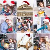 Κολάζ στο θέμα των Χριστουγέννων: Ευτυχής οικογένεια, παιδιά, Chris Στοκ εικόνα με δικαίωμα ελεύθερης χρήσης