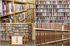 Κολάζ σχολικών γραφείων εκπαίδευσης ραφιών βιβλίων βιβλιοθήκης Στοκ φωτογραφία με δικαίωμα ελεύθερης χρήσης