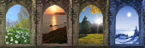 Κολάζ τέσσερις εποχές - άποψη μέσω του σχηματισμένου αψίδα παραθύρου κάστρων Στοκ Φωτογραφία
