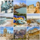 Κολάζ ταξιδιού της Ισπανίας - ισπανικά ορόσημα: Βαρκελώνη, Καντίζ, Μάλαγα Στοκ Εικόνα