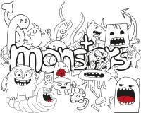 Κολάζ τεράτων Doodle Στοκ Εικόνα