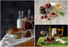 Κολάζ της μαρμελάδας φραουλών στοκ εικόνα