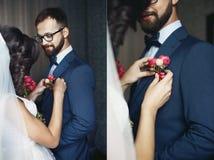 Κολάζ της όμορφης νύφης brunette που καρφώνει μια μπουτονιέρα στο hap Στοκ εικόνα με δικαίωμα ελεύθερης χρήσης