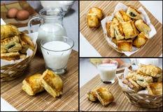 Κολάζ του γάλακτος και patties με το σπανάκι στοκ φωτογραφία με δικαίωμα ελεύθερης χρήσης
