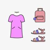 Κολάζ του θηλυκού διανύσματος κοριτσιών ιματισμού Σανδάλια φορεμάτων σακιδίων πλάτης κολάζ που ντύνουν την τάση Τάση ιματισμού κο Στοκ Φωτογραφίες