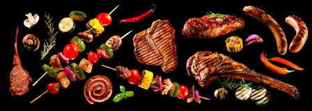 Κολάζ του διάφορων ψημένων στη σχάρα κρέατος και των λαχανικών Στοκ εικόνα με δικαίωμα ελεύθερης χρήσης