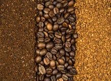 Κολάζ του καφέ, που αλέθεται, της στιγμής και των φασολιών Στοκ εικόνες με δικαίωμα ελεύθερης χρήσης