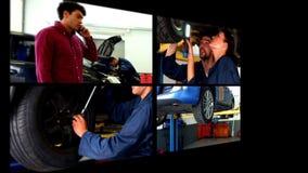 Κολάζ του μηχανικού αυτοκινήτων απόθεμα βίντεο