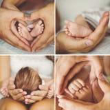 Κολάζ του νεογέννητου στοκ φωτογραφίες