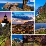 Κολάζ του νησιού της Μαδέρας στις εικόνες ταξιδιού της Πορτογαλίας οι φωτογραφίες μου Στοκ εικόνες με δικαίωμα ελεύθερης χρήσης