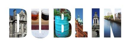 Κολάζ του Δουβλίνου Ιρλανδία στο λευκό Στοκ Εικόνες
