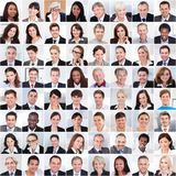 Κολάζ του χαμόγελου επιχειρηματιών Στοκ Φωτογραφίες