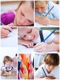 Κολάζ του χαριτωμένου χρωματισμού παιδιών Στοκ εικόνα με δικαίωμα ελεύθερης χρήσης