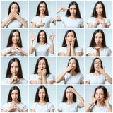Κολάζ του όμορφου κοριτσιού με τις διαφορετικές εκφράσεις του προσώπου στοκ φωτογραφία με δικαίωμα ελεύθερης χρήσης