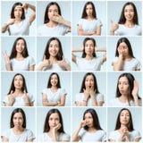 Κολάζ του όμορφου κοριτσιού με τις διαφορετικές εκφράσεις του προσώπου στοκ φωτογραφίες