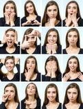 Κολάζ του όμορφου κοριτσιού με τις διαφορετικές εκφράσεις του προσώπου Στοκ εικόνες με δικαίωμα ελεύθερης χρήσης