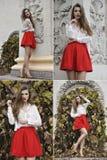 Κολάζ του bautiful νέου κοριτσιού στον κόκκινο ιματισμό μόδας Στοκ Εικόνες