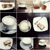 Κολάζ του latte coffe και του κέικ στον πίνακα Στοκ Εικόνες