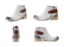 Κολάζ των άσπρων μποτών άνοιξη παπουτσιών για τα παπούτσια γυναικών σε ένα άσπρο υπόβαθρο, σε απευθείας σύνδεση κατάστημα Στοκ Φωτογραφία