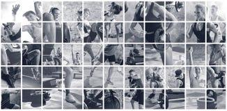 Κολάζ των αθλητικών φωτογραφιών με τους ανθρώπους στοκ εικόνα