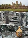 Κολάζ των εικόνων Angkor Wat (Καμπότζη) - ταξιδεψτε το υπόβαθρο (μ Στοκ Φωτογραφία