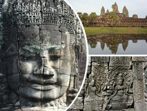 Κολάζ των εικόνων Angkor Wat (Καμπότζη) - ταξιδεψτε το υπόβαθρο (μ Στοκ φωτογραφία με δικαίωμα ελεύθερης χρήσης
