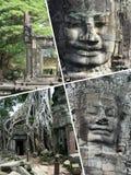 Κολάζ των εικόνων Angkor Wat (Καμπότζη) - ταξιδεψτε το υπόβαθρο (μ Στοκ φωτογραφίες με δικαίωμα ελεύθερης χρήσης