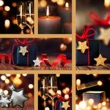 Κολάζ των επιτραπέζιων διακοσμήσεων Χριστουγέννων Στοκ Εικόνα