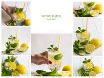 Κολάζ των διαφορετικών εικόνων του νερού detox Apple, φράουλα, αγγούρι, λεμόνι, μέντα, κανέλα Στοκ Εικόνες