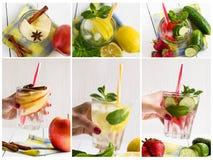 Κολάζ των διαφορετικών εικόνων του νερού detox Apple, φράουλα, αγγούρι, λεμόνι, μέντα, κανέλα Στοκ Εικόνα