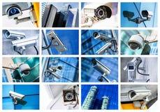 Κολάζ των κάμερων ασφαλείας και του αστικού βίντεο Στοκ Φωτογραφίες