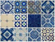 Κολάζ των μπλε κεραμιδιών σχεδίων στην Πορτογαλία Στοκ Εικόνες